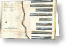 Coast Survey Chart Or Map Of California And Oregan North Of San Francisco Greeting Card