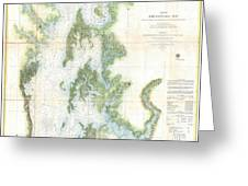 Coast Survey Chart Or Map Of The Chesapeake Bay Greeting Card