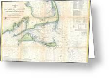 Coast Survey Map Of Cape Cod Nantucket And Marthas Vineyard Greeting Card