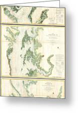 Coast Survey Map Of The Chesapeake Bay  Greeting Card
