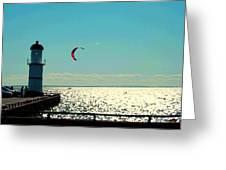 Coast To Coast Sea To Sky Flies Curiosity Crescent Kite Night Scenes On The Canal Carole Spandau Greeting Card