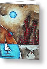 Coastal Abstract Cityscape Art Original City Painting Morning Retreat By Madart Greeting Card