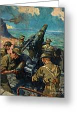 Coastal Battery Scene Artist Terence Cuneo Greeting Card