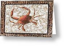 Coastal Crab Decorative Painting Greek Border Design By Madart Studios Greeting Card