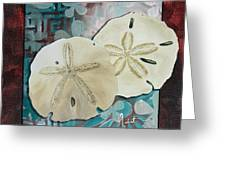 Coastal Decorative Shell Art Original Painting Sand Dollars Asian Influence I By Megan Duncanson Greeting Card