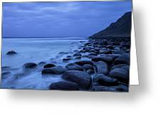 Coastal Rocks In Water At Unstad Beach Greeting Card