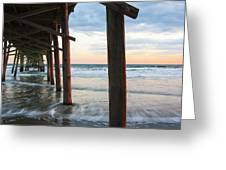 Coastal Sunset At Oceanana Fishing Pier Greeting Card