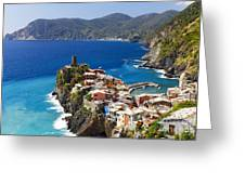 Coastal Town On A Cliff Greeting Card