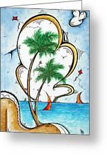 Coastal Tropical Art Contemporary Sailboat Kite Painting Whimsical Design Summer Daze By Madart Greeting Card