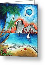Coastal Tropical Beach Art Contemporary Painting Whimsical Design Tropical Vacation By Madart Greeting Card