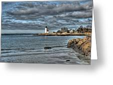 Coastal View Of Annisquam Lighthouse Greeting Card