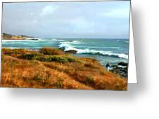 Coastal Waves Roll In To Shore Greeting Card