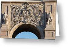 Coat Of Arms Of Portugal On Rua Augusta Arch In Lisbon Greeting Card