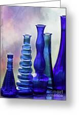 Cobalt Blue Bottles Greeting Card