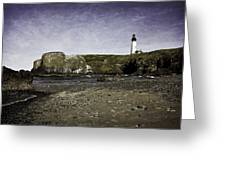 Cobble Beach At Yaquina Lighthouse Greeting Card