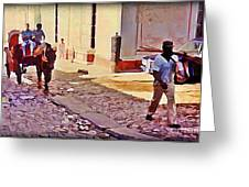Cobble Stone Streets Of Cuba Greeting Card