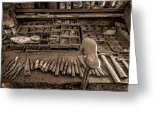 Cobblers Tools Bw Greeting Card