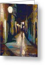 Cobblestone Nighttime Street Greeting Card