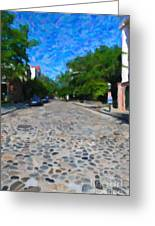 Cobblestone Street Greeting Card