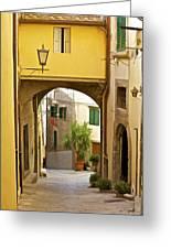 Cobblestone Street Of Tuscany Greeting Card