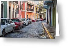 Cobblestone Streets Of San Juan Puerto Rico Greeting Card