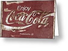 Coca Cola Faded Sign Greeting Card
