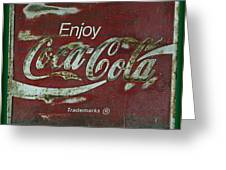 Coca Cola Green Grunge Sign Greeting Card
