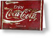 Coca Cola Red Grunge Sign Greeting Card