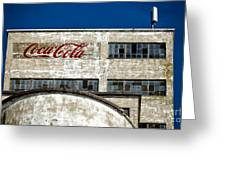 Coca Cola Sign On Old Factory Greeting Card