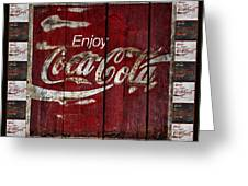Coca Cola Sign With Little Cokes Border Greeting Card