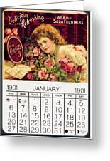Coca - Cola Vintage Calendar Greeting Card