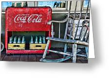 Coca Cola Vintage Cooler And Rocking Chair Greeting Card