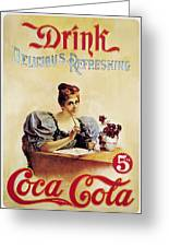 Coca - Cola Vintage Poster - Drink Delicious Refreshing Greeting Card