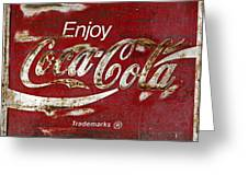Coca Cola Wood Grunge Sign Greeting Card
