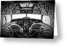 cockpit of a DC3 Dakota Greeting Card