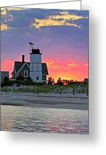 Cocktail Hour At Sandy Neck Lighthouse Greeting Card