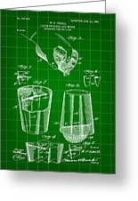 Cocktail Mixer And Strainer Patent 1902 - Green Greeting Card