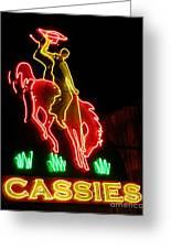 Cody Wyoming Neon Lounge Sign At Night Greeting Card