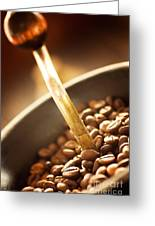 Coffe Beans In The Grinder Greeting Card