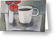 Coffee And Roses Greeting Card