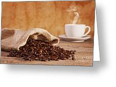 Coffee Beans And Burlap Sack Greeting Card