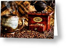 Coffee Beans And Grinder Closeup Greeting Card