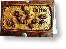 Coffee Beans And Wood Greeting Card