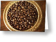 Coffee Beans On Antique Silver Platter Greeting Card