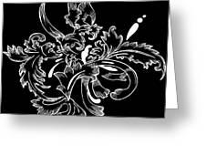 Coffee Flowers 11 Bw Greeting Card