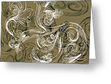 Coffee Flowers 2 Olive Greeting Card