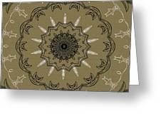 Coffee Flowers 3 Olive Ornate Medallion Greeting Card