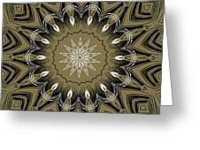 Coffee Flowers 4 Olive Ornate Medallion Greeting Card