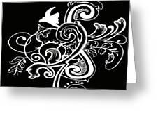 Coffee Flowers 5 Bw Greeting Card