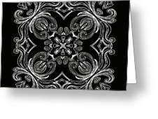 Coffee Flowers 6 Bw Ornate Medallion Greeting Card